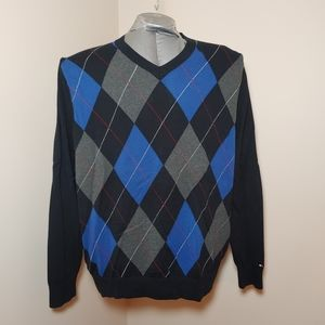 Tommy Hilfiger Argyle V-Neck Sweater Sz Lg